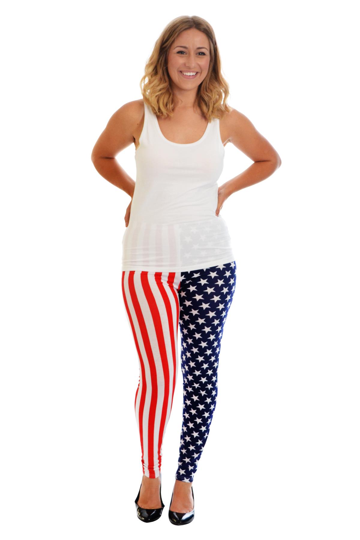 New Womens Leggings Plus Size Ladies American Flag USA Full Length Nouvelle
