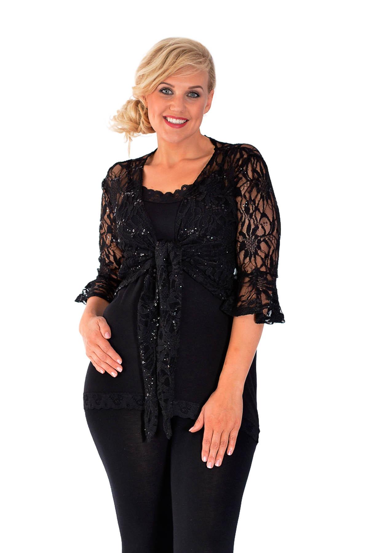 new women plus size shrug ladies lace floral front tie sequin