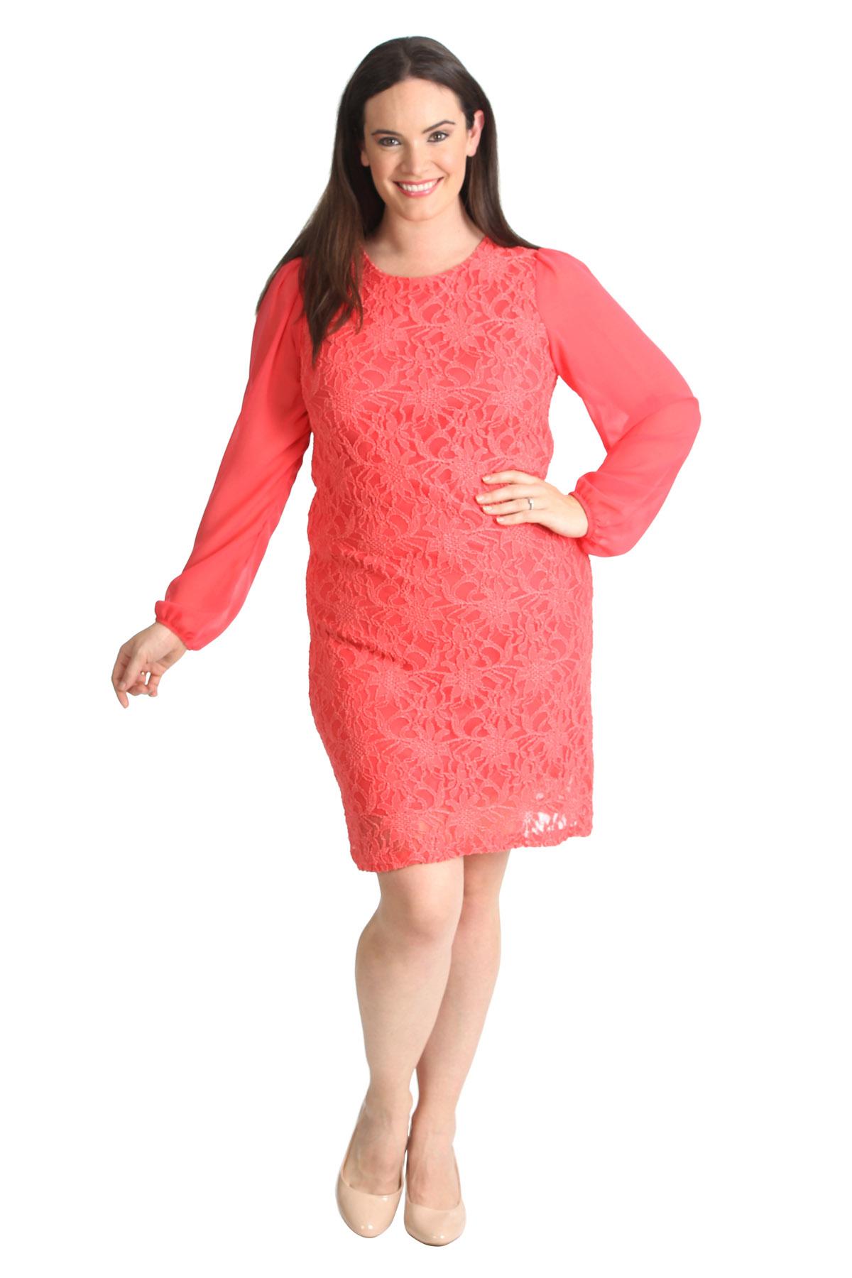 New Ladies Plus Size Dress Womens Floral Lace Chiffon ...
