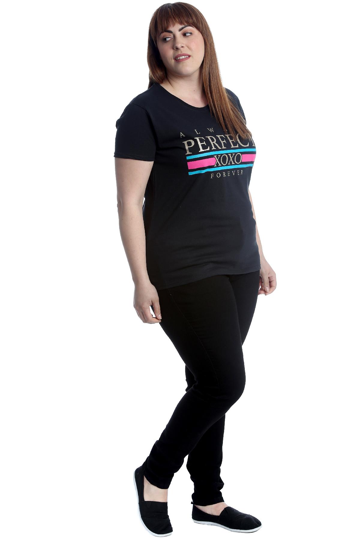 New Womens Plus Size T-Shirt Ladies Cotton Top Always Perfect XOXO Print Sale