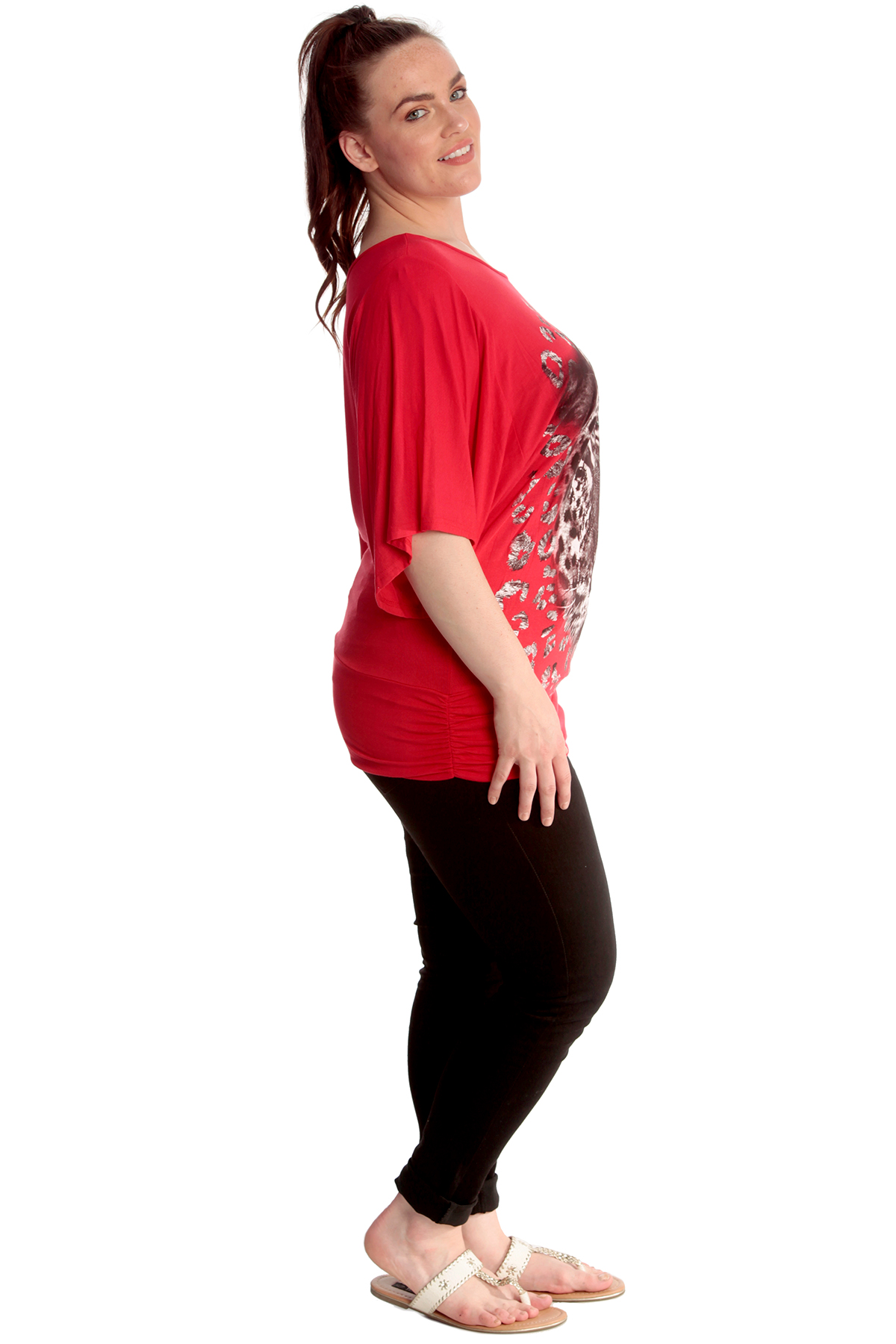 New Womens Top Plus Size Ladies Batwing Shirt Tiger Print Front Glitter Nouvelle