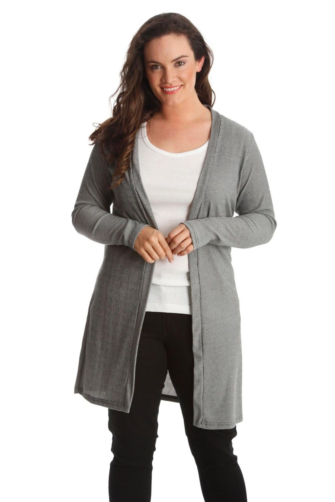 Plus Size Cotton Open Front Cardigan Sweater Tunic