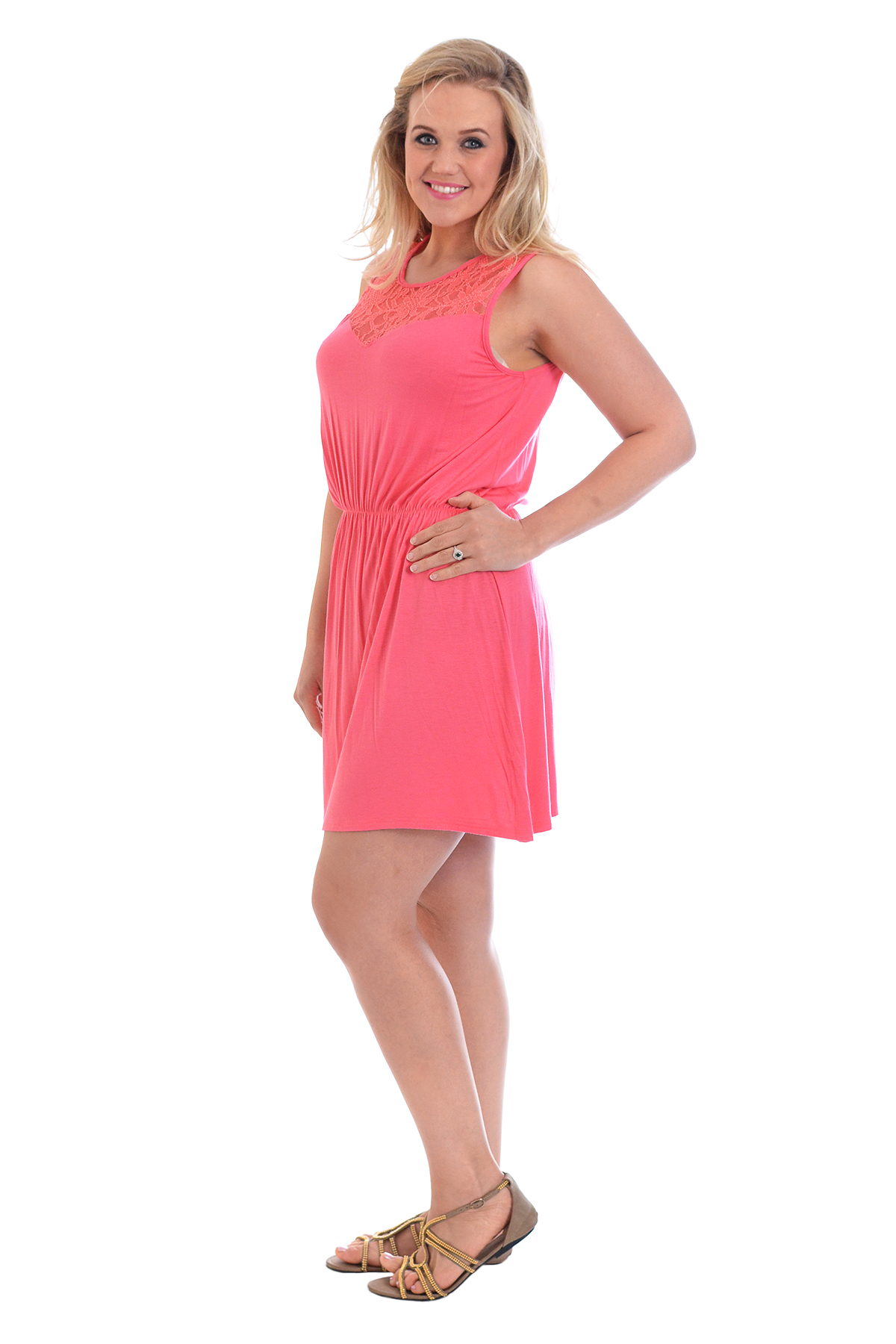 New Ladies Plus Size Dress Womens Tunic Floral Lace Neck