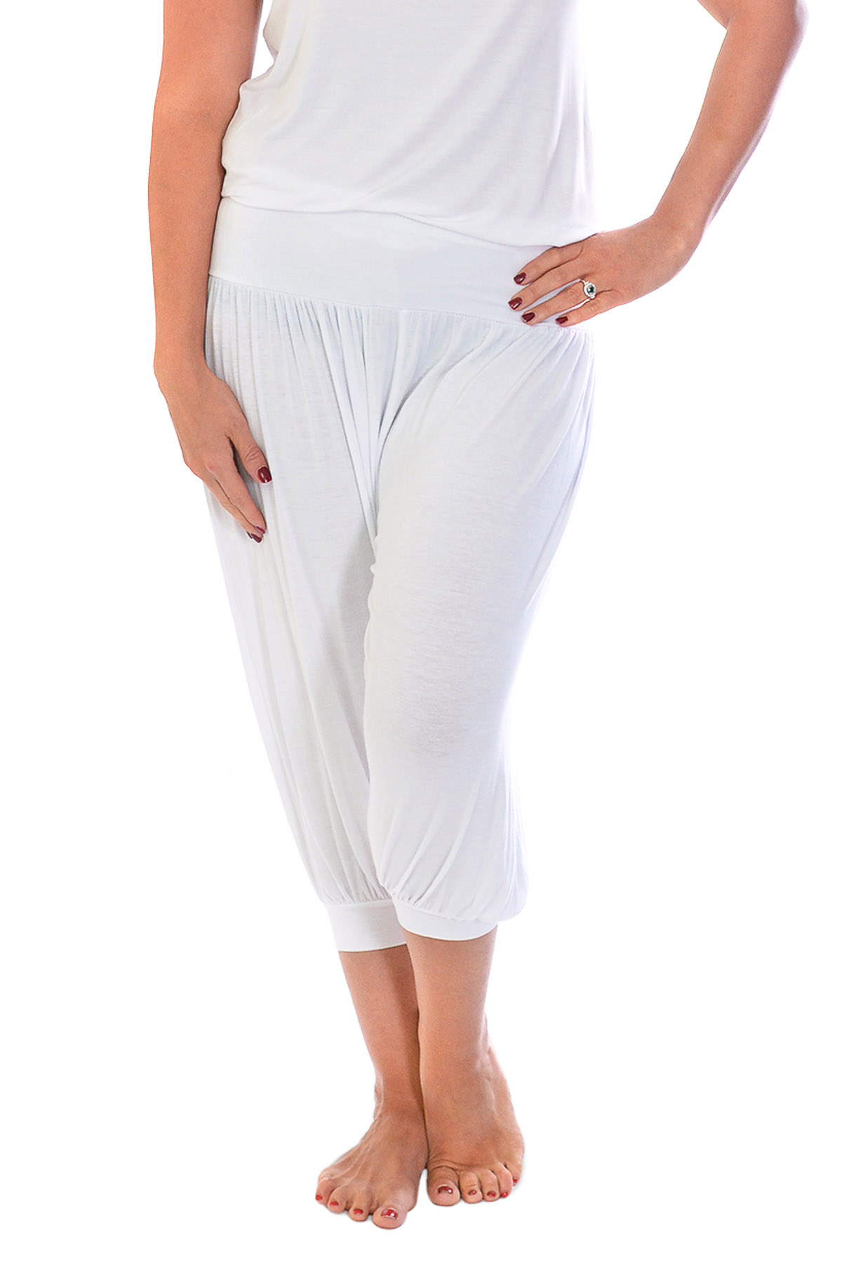 New Womens Plus Size Harem Trouser Ladies Cropped Ali Baba Yoga Plain Nouvelle