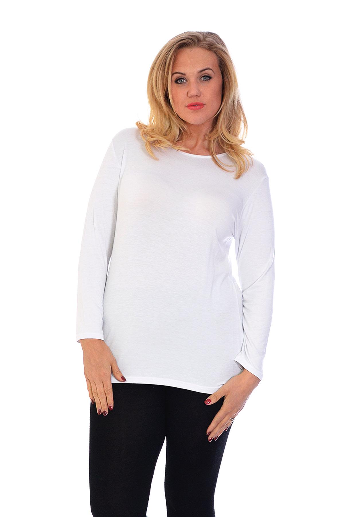 New ladies t shirt womens top plain long sleeve basic plus for Basic shirts for women