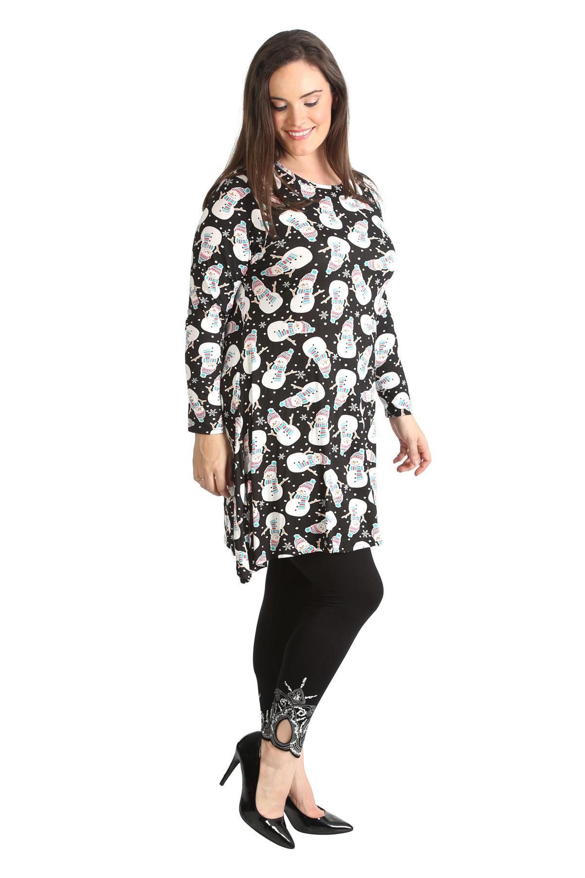 Womens Dress Ladies Plus Size Snowman Print Christmas ...