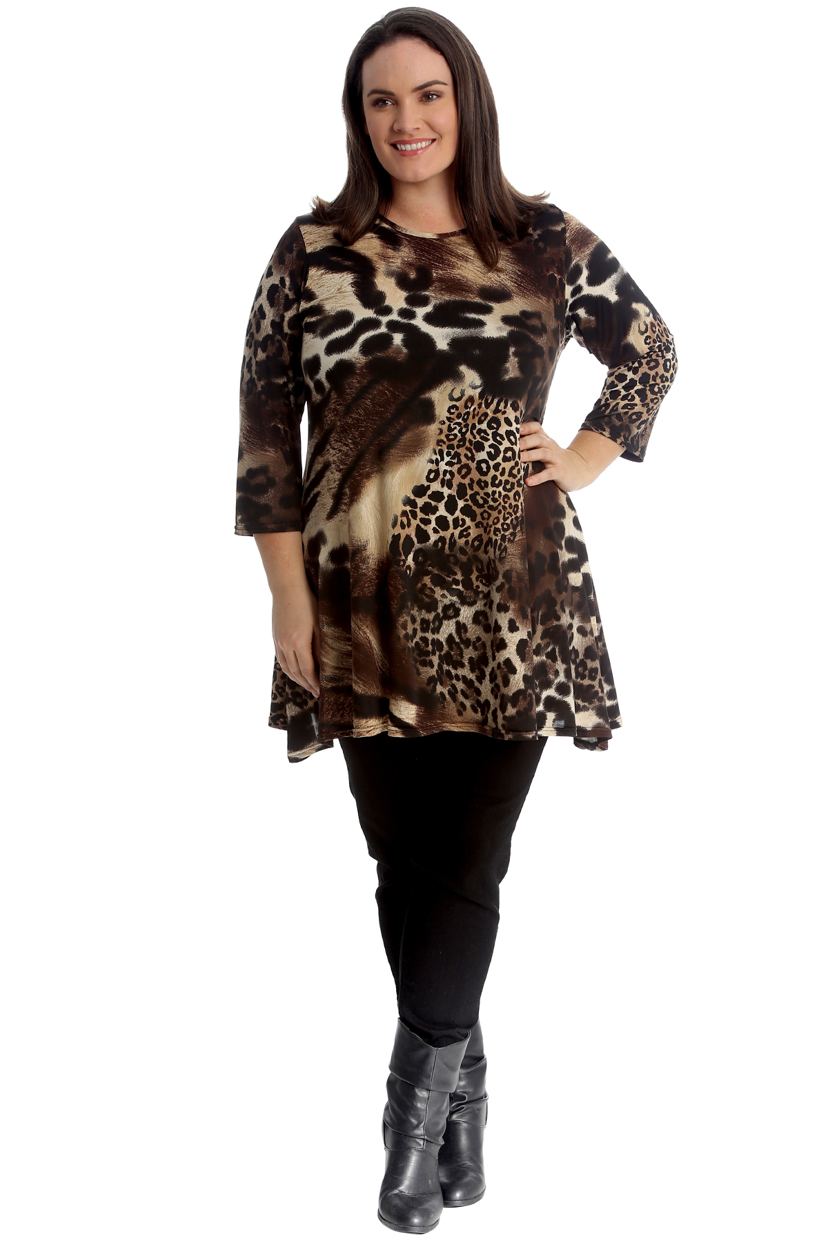 New Womens Plus Size Top Ladies Tiger Animal Print Swing Dress Tunic Abstract