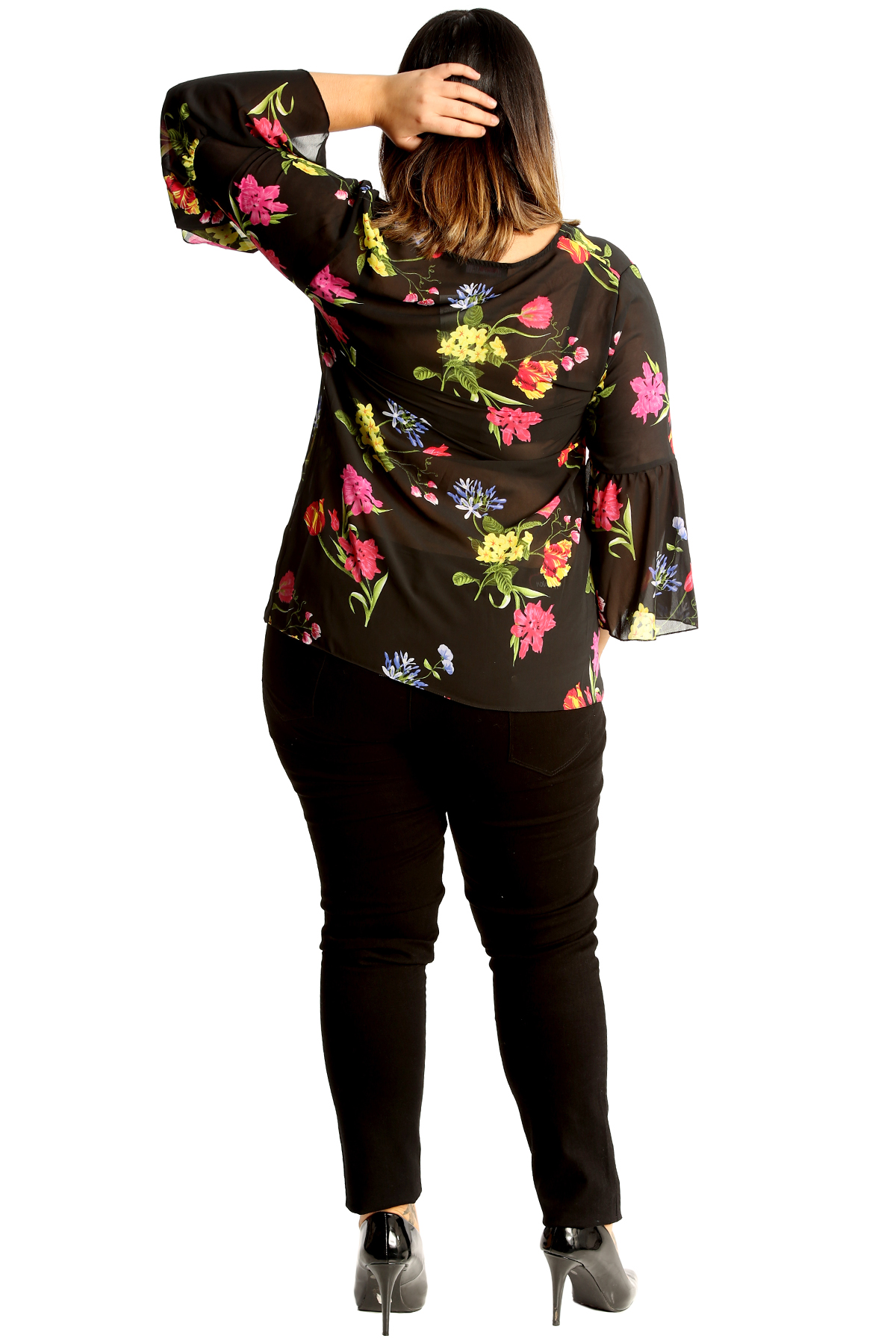 New Ladies Plus Size Top Womens Chiffon Floral Print Blouse Frill Sleeve Tunic