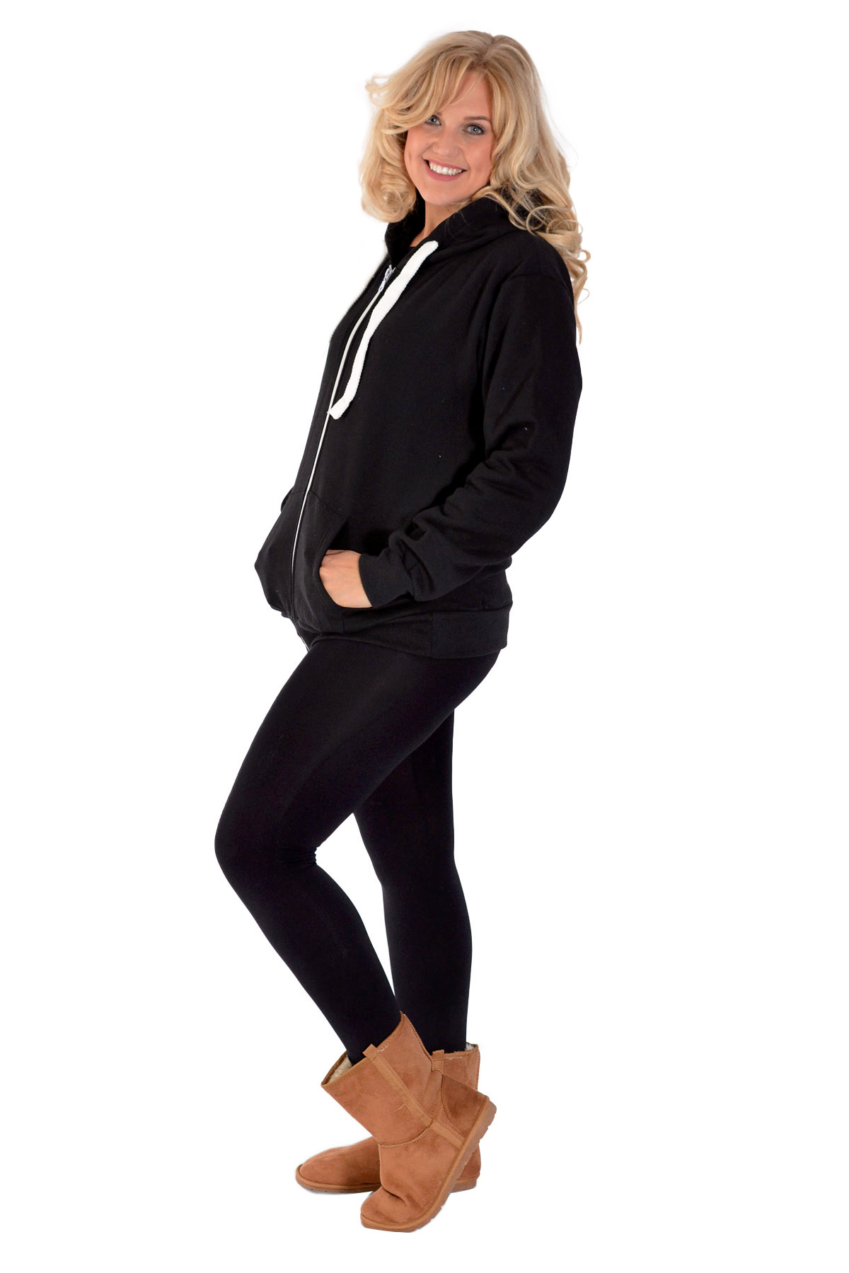 New Womens Plus Size Hoodies Ladies Plain Sweat Top Drawstrings Hooded Soft Sale