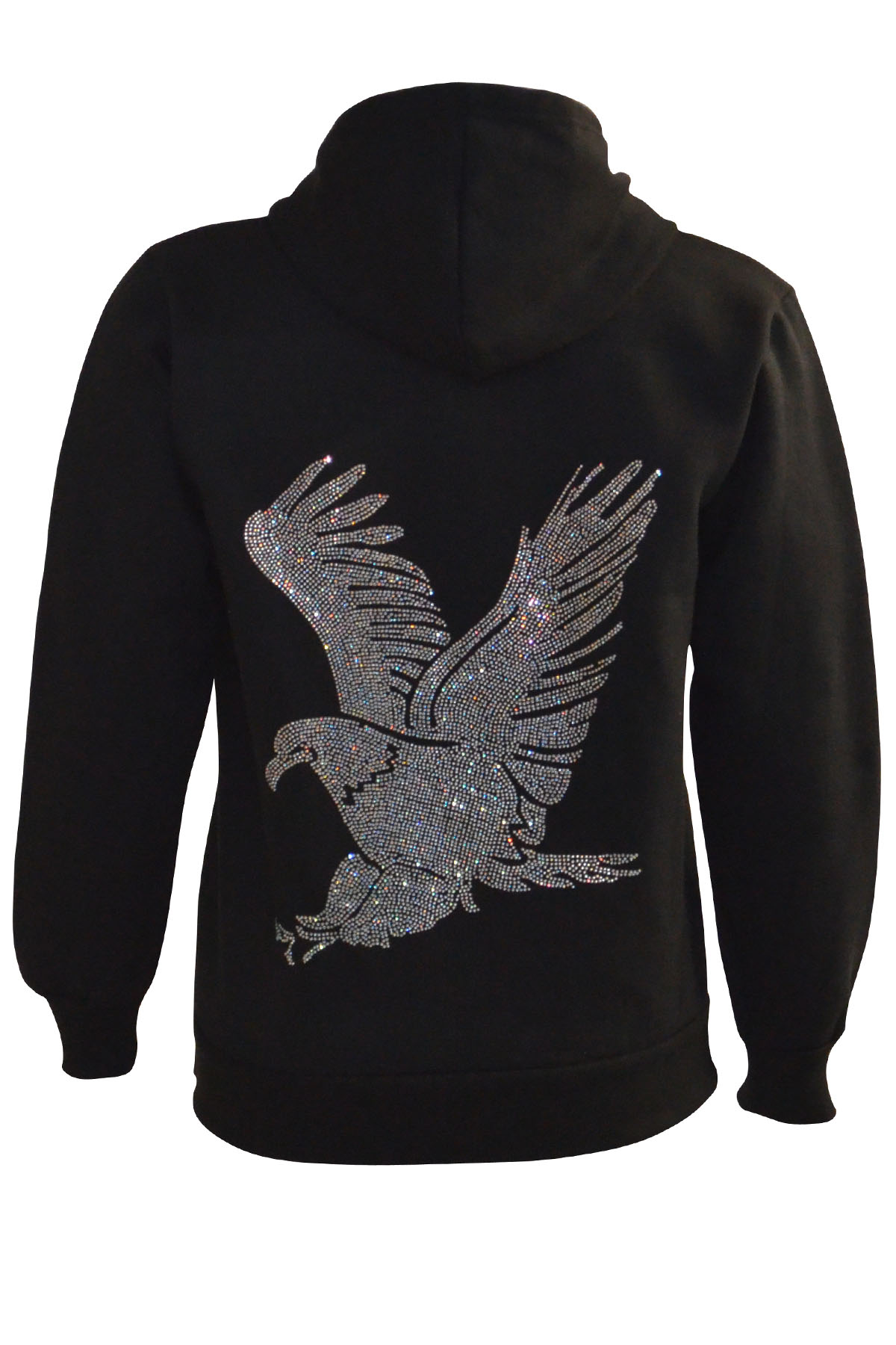 New Ladies Hoodie Plus Size Womens Studded Eagle ...