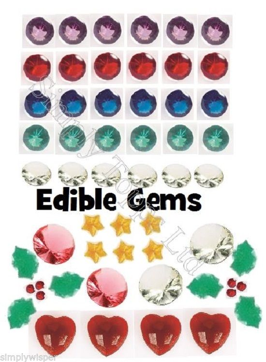 Edible Cake Decorations Jewels : Edible Gems Jewels Culpitt Topper Cake Decoration Cupcake ...