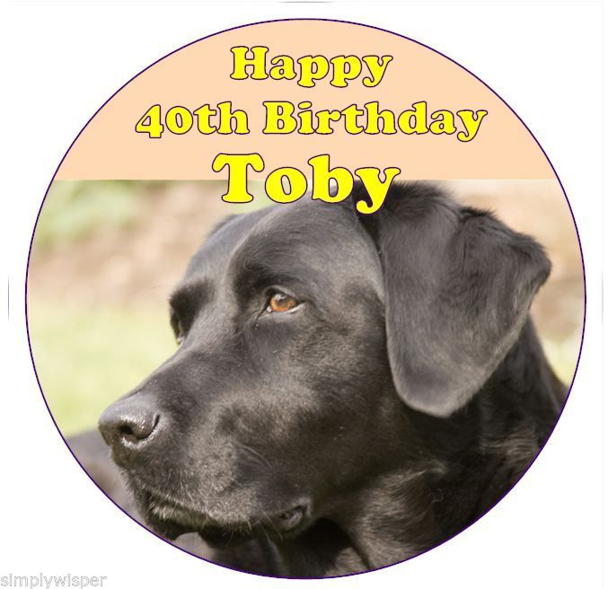 Black Labrador Dog Personalised Icing Cake Topper Birthday ...