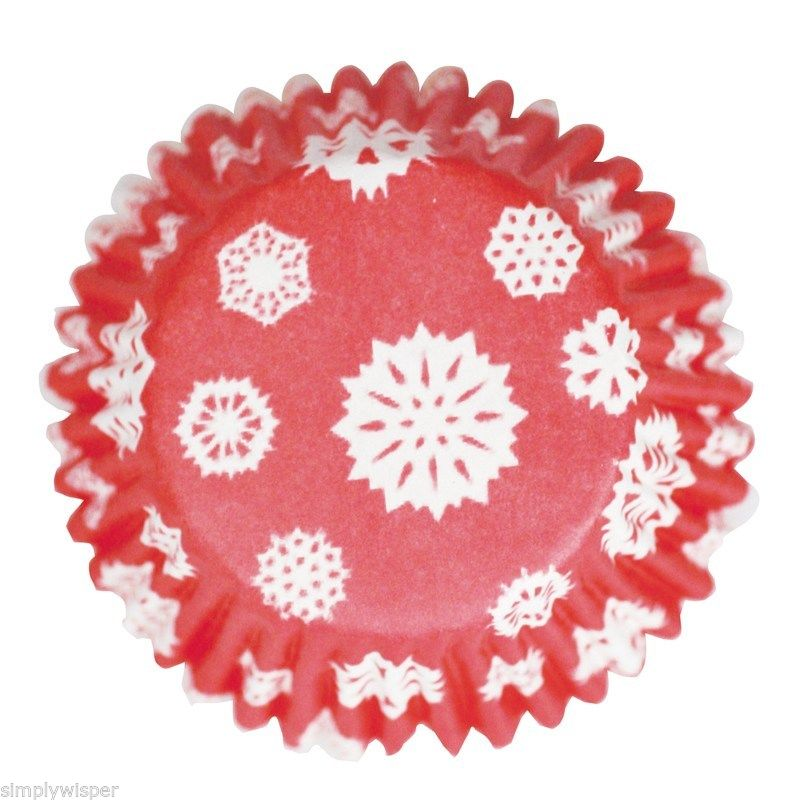 Christmas-Baking-Cases-Cupcake-Cake-Xmas-Festive-Holly-Snowflake-green-red