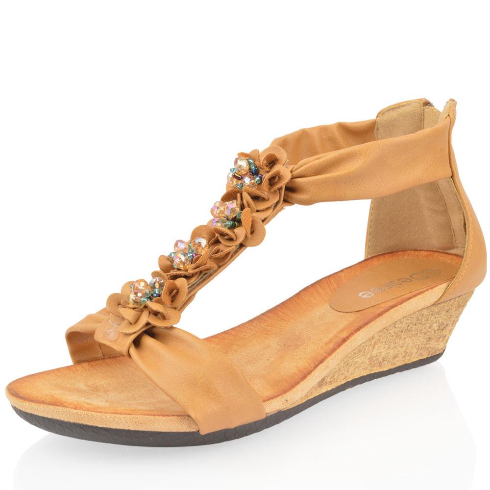 Womens sandals mid heel - Ladies Womens Summer Low Wedge Mid Heel Flower Diamante Zip Beach Sandals Shoe