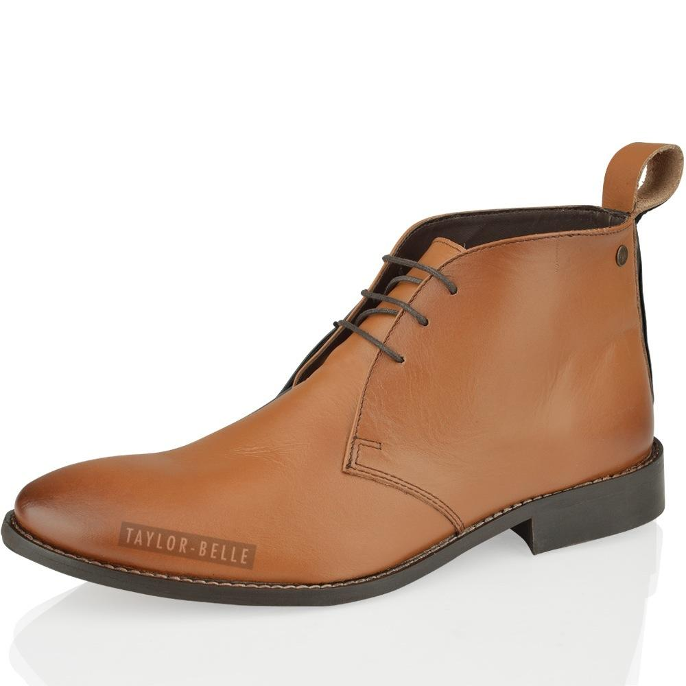 MENS CASUAL SMART LEATHER CHUKKA MID LACE UP ANKLE FLAT BOOTS SHOE SIZE 6-12