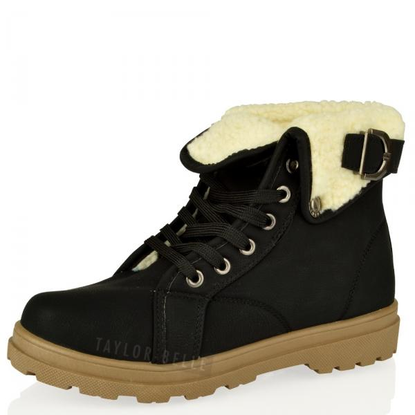 womens army combat flat grip sole winter fur lined