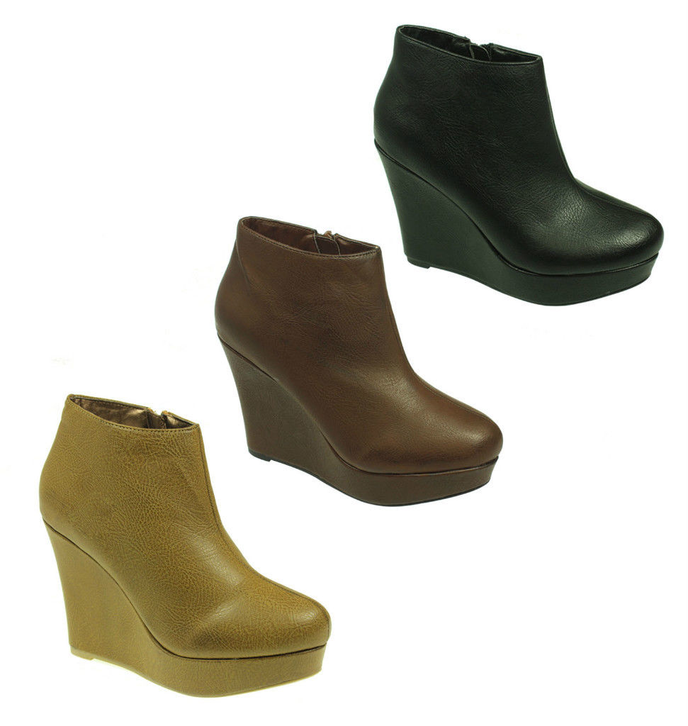 s wedge shoes platform ankle boots uk sizes 3 8 ebay