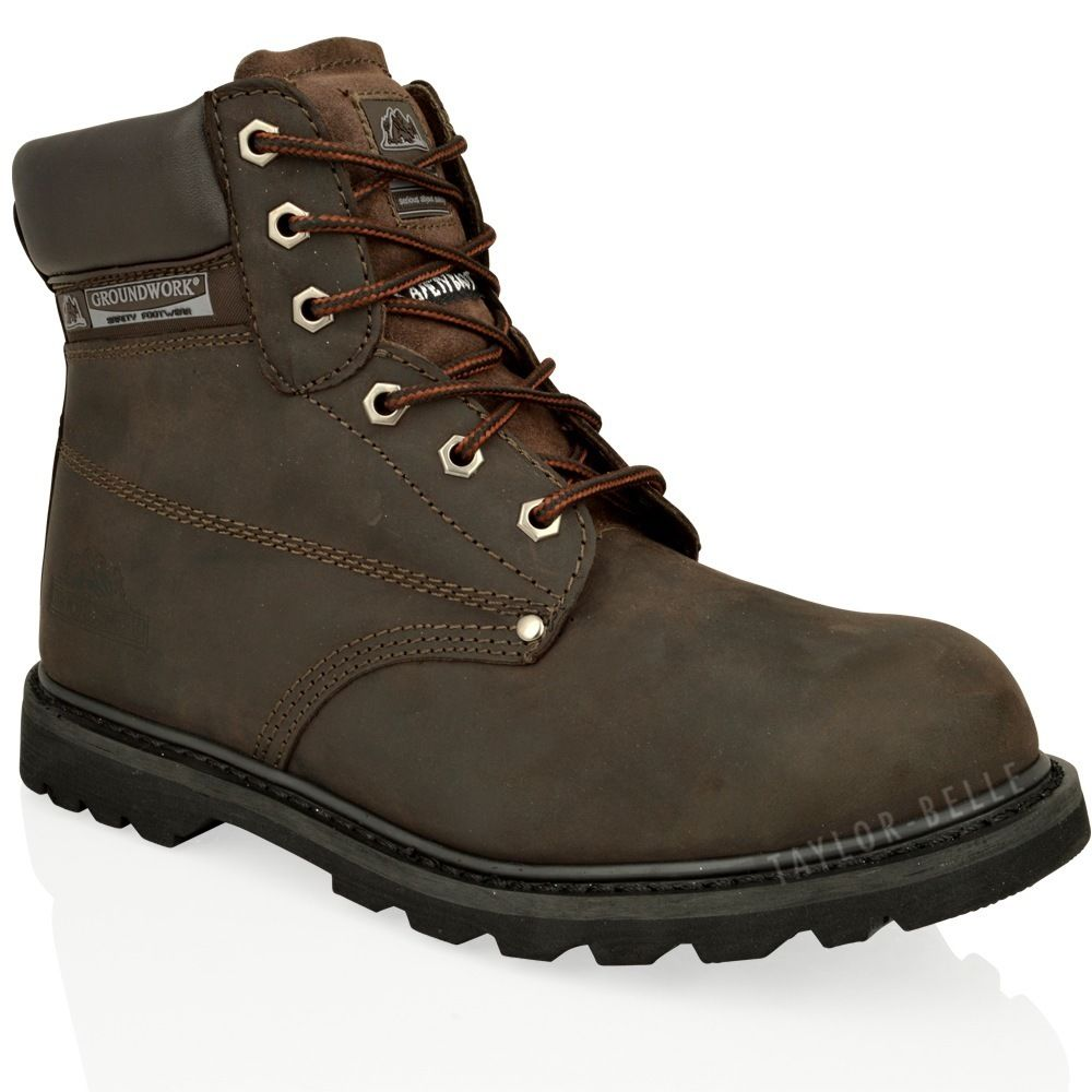 mens steel toe cap work boots saftey leather lace up ankle