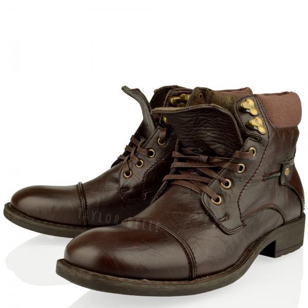 Bottines Motard Homme Armée Militaire À Lacets Chaussure Combat Noir