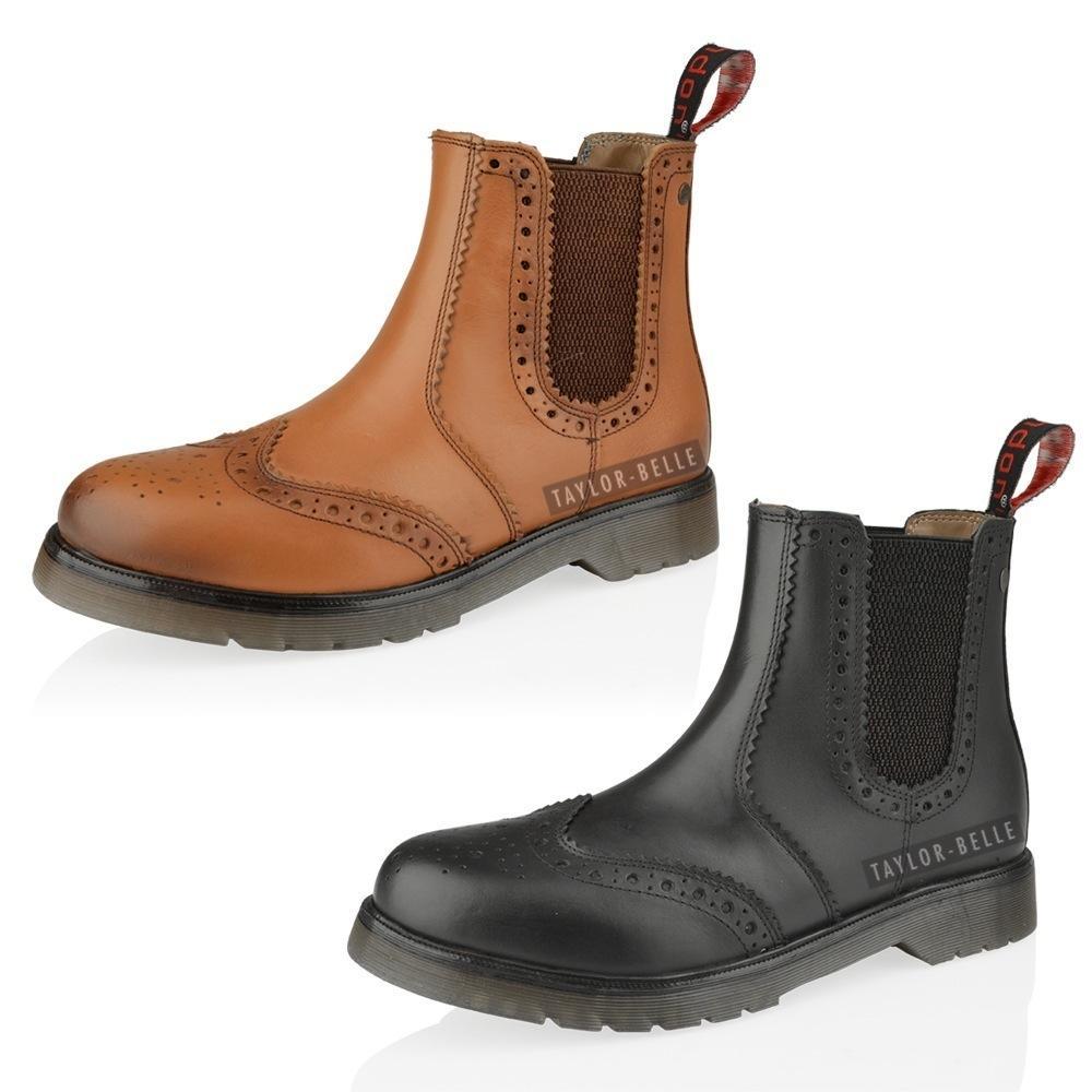 mens leather chelsea dealer ankle brogue slip pull on work