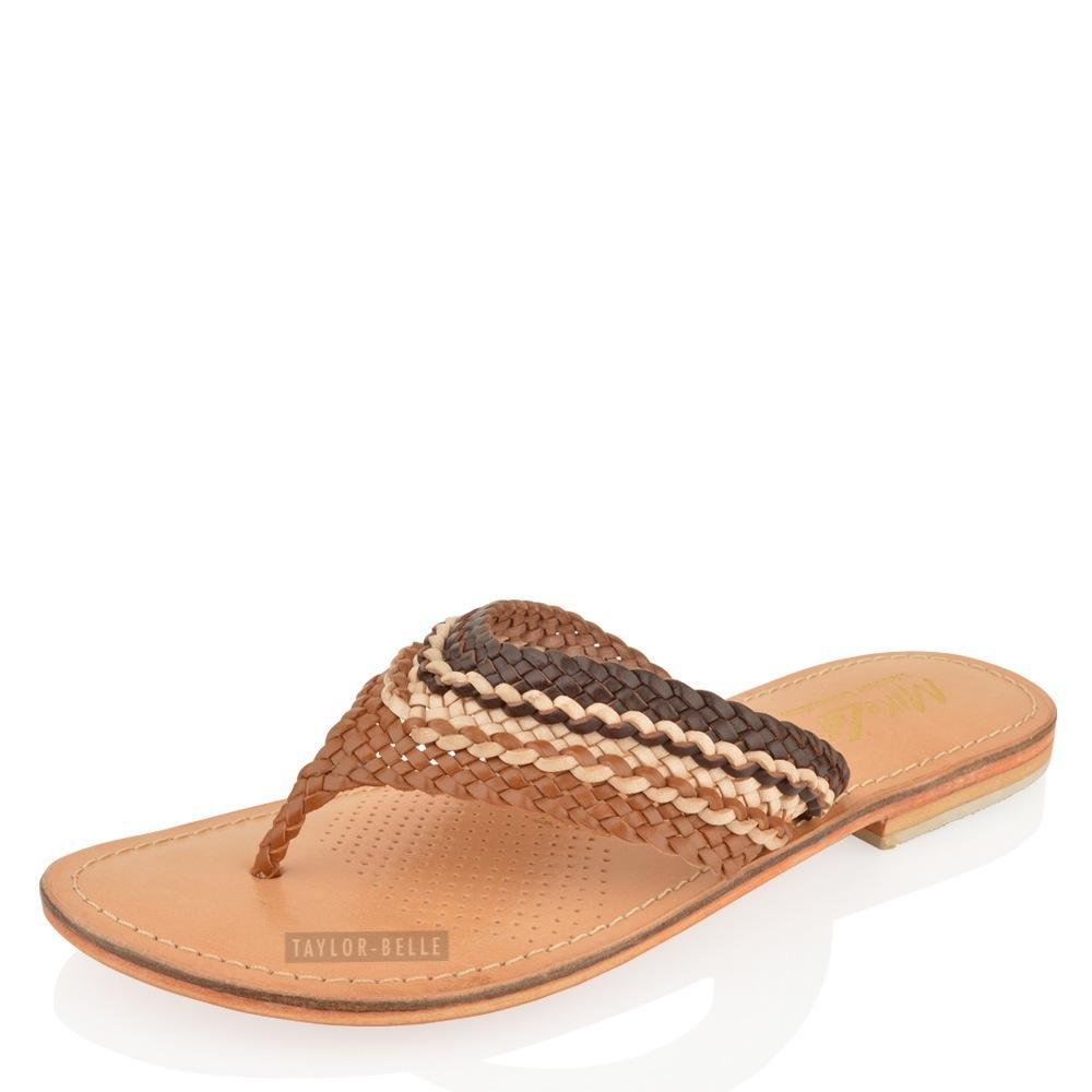 womens ladies leather flip flops summer toe post flat. Black Bedroom Furniture Sets. Home Design Ideas