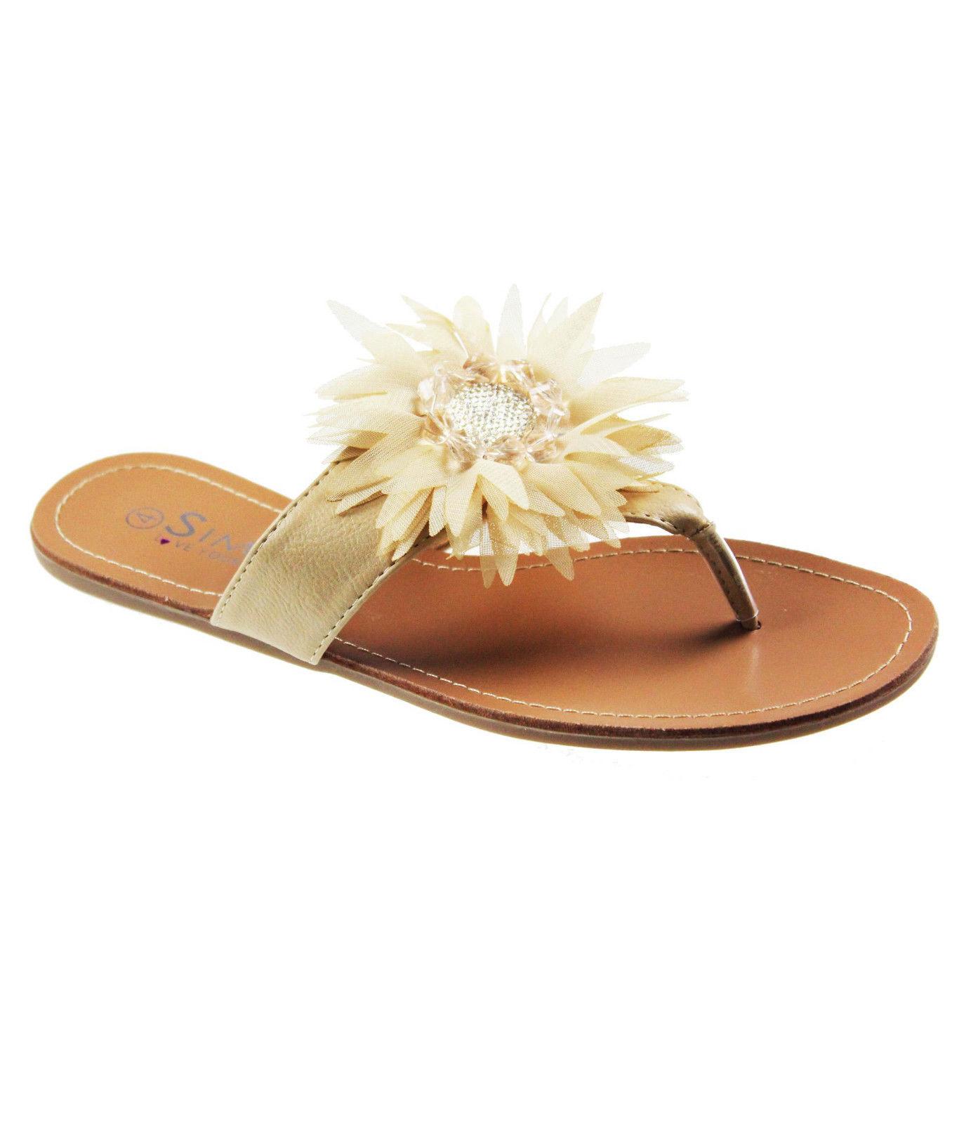 flip flops damen flach sommer leder blumen sandalen. Black Bedroom Furniture Sets. Home Design Ideas