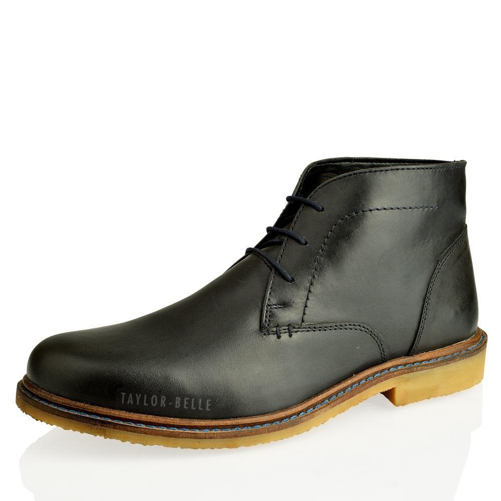 mens casual leather desert chukka mid lace up ankle flat boots shoes size 7 12 ebay. Black Bedroom Furniture Sets. Home Design Ideas