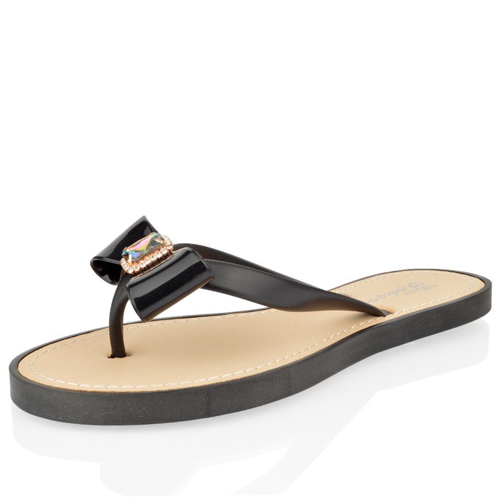 damen frauen sommer flip flops schleife stra steine zehen strand flach sandalen ebay. Black Bedroom Furniture Sets. Home Design Ideas