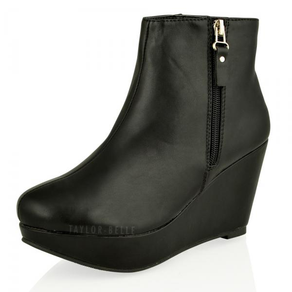 womens ankle wedge high heel platform zip boots