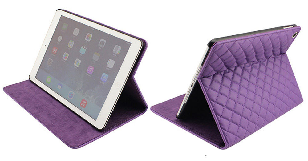 Deluxe Quilted Luxury case Cover for iPad Air Stylish Folio Protection Leather