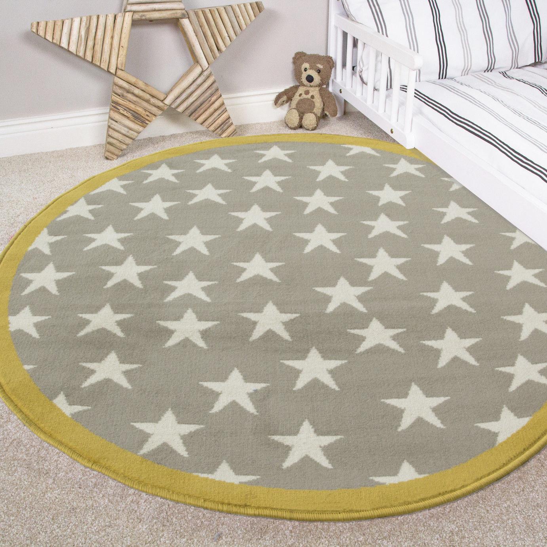 Mustard Yellow /& Grey Stars Nursery Bedroom Rugs Childrens Kids Boy Girls Mats
