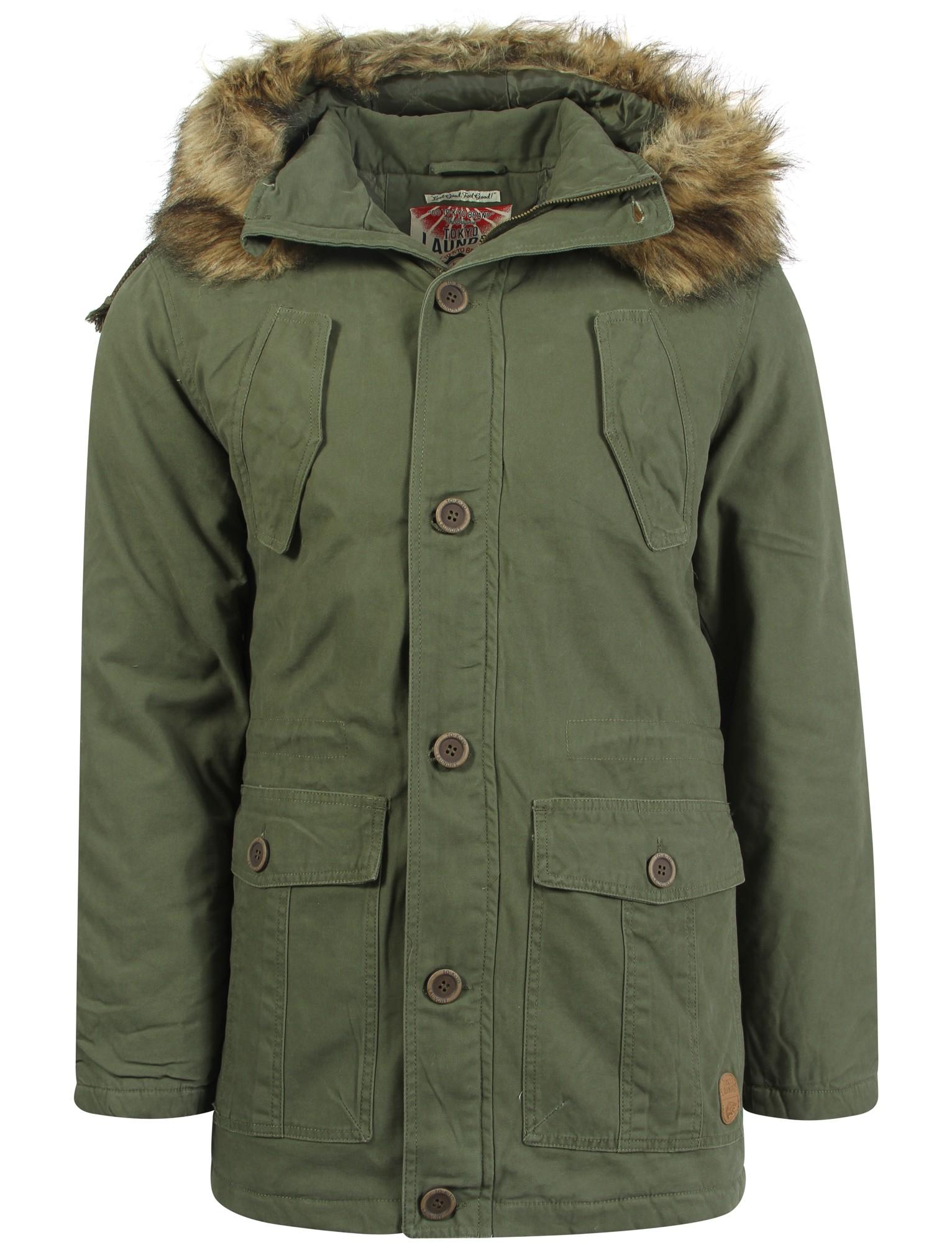 Men's Tokyo Laundry Fur Trim Hooded Parka Jacket Size S - XXL | eBay