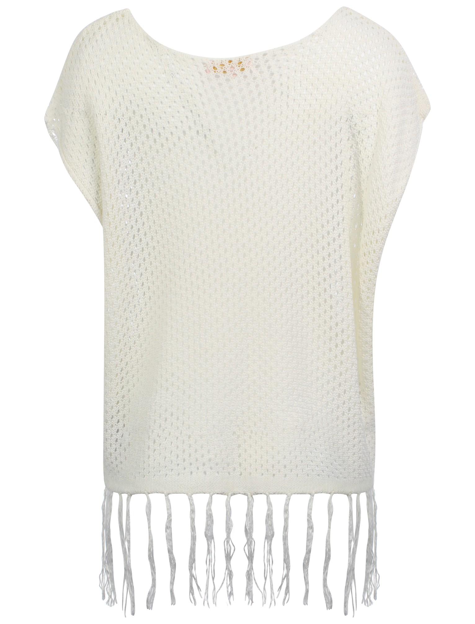 Womens Plum Tree Khan Ladies Short Sleeve Fringe Crochet V Neck Top Size 8-16