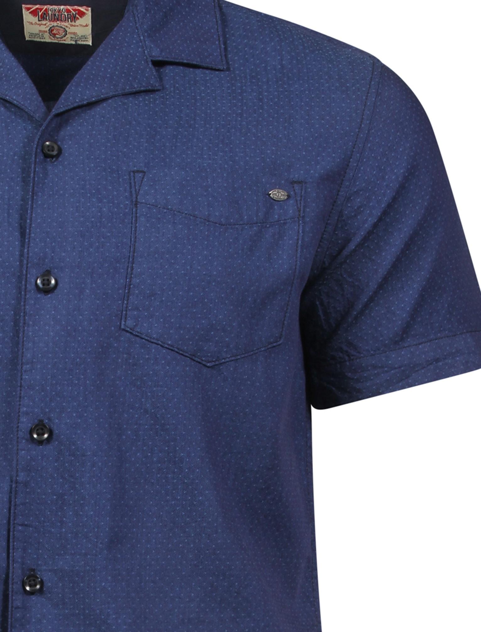 New Mens Tokyo Laundry Marino Short Sleeve Button Polka