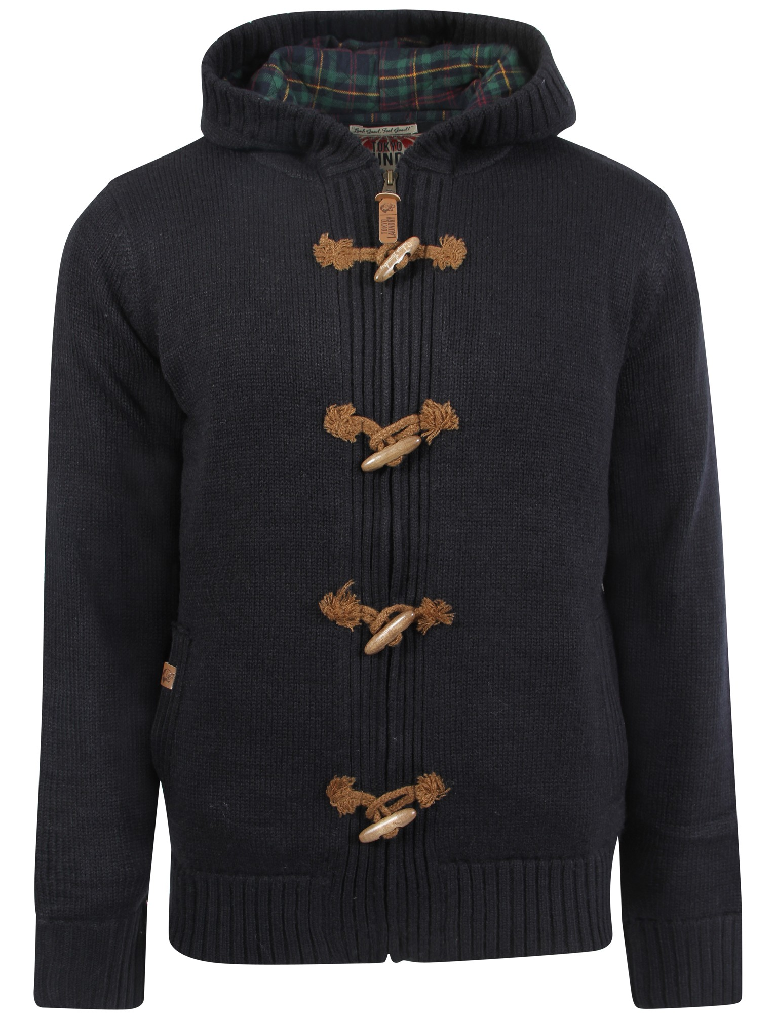 Mens Tokyo Laundry Quilted Hooded Zip Up Toggle Chunky Knit ...