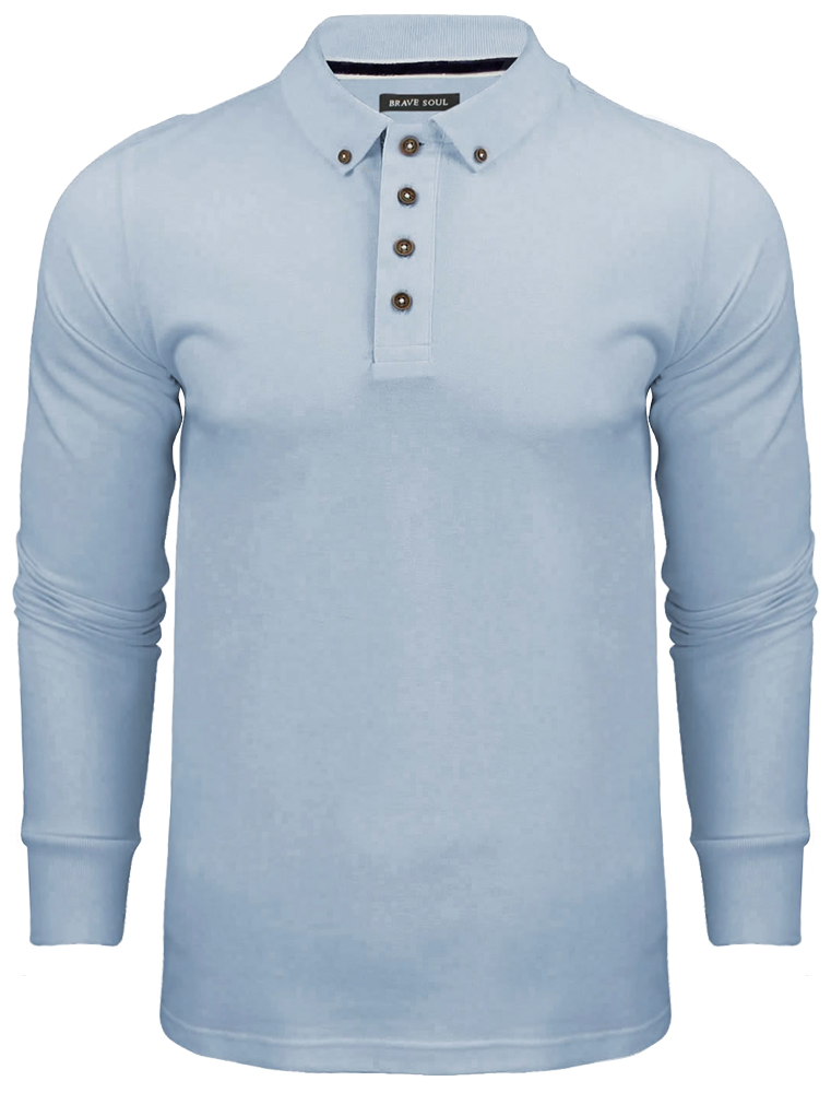New Mens Brave Soul Lincoln Long Sleeve Button Collar Polo