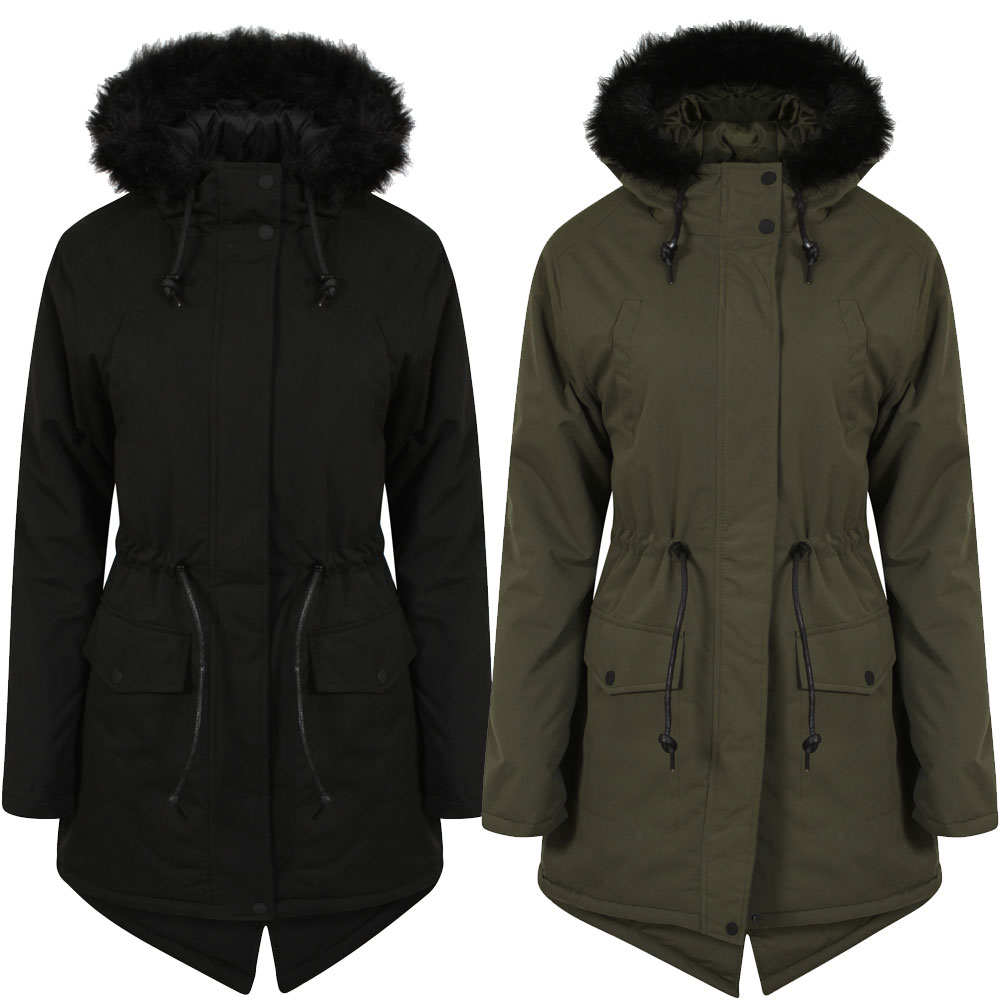 Womens Tokyo Laundry Dinah Faux Fur Hooded Ladies Parka Jacket ...