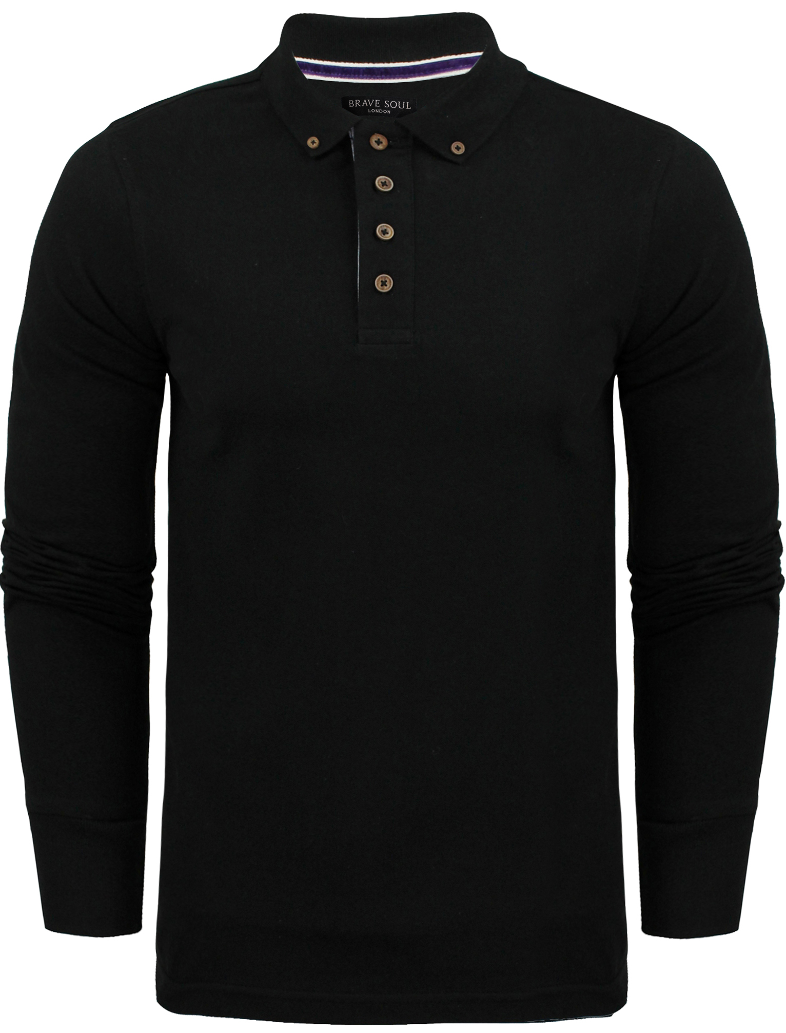 New Mens Cotton Rich Long Sleeved Polo T Shirt By Brave