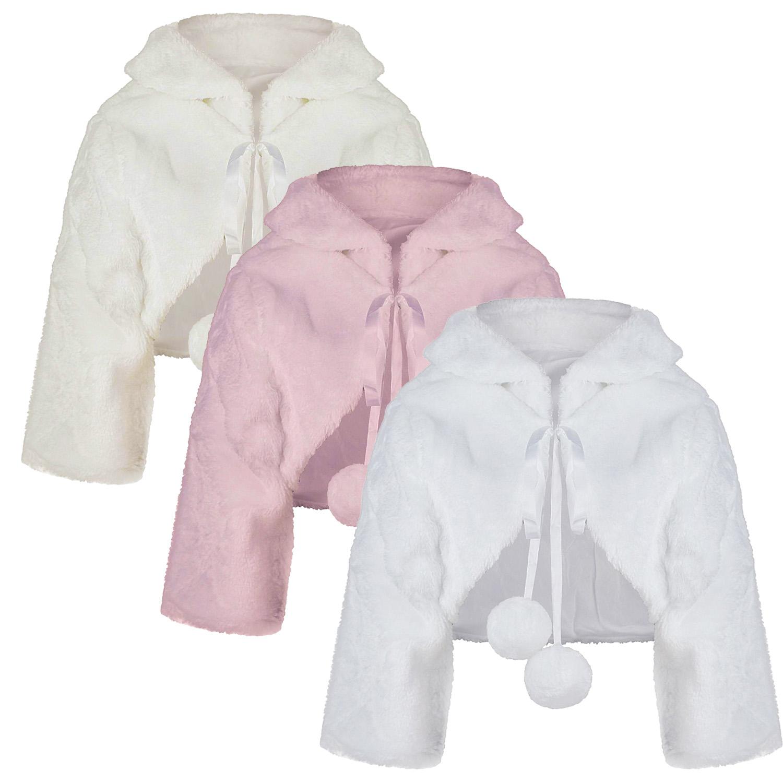 Girls Long Sleeved Faux Fur Bolero Shrug Jacket Formal