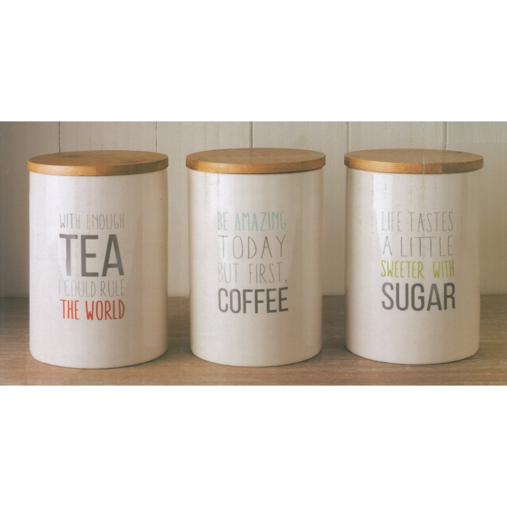 3 retro ceramic storage jars with bamboo lids tea coffee sugar canisters - Coffee tea and sugar canisters ...