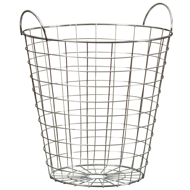 metal wire woven waste paper basket bin with handles home