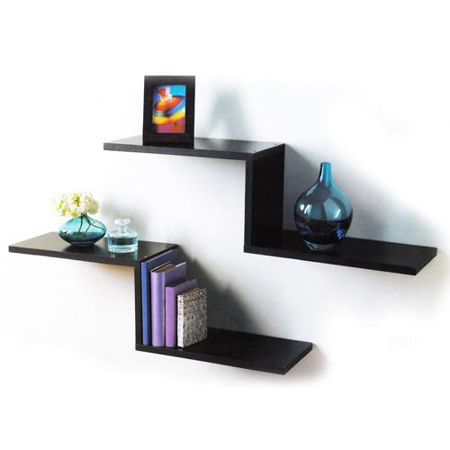 Z-Shaped Floating Shelves Set of 2 Shelf Shelving - Oak/White/Black NEW