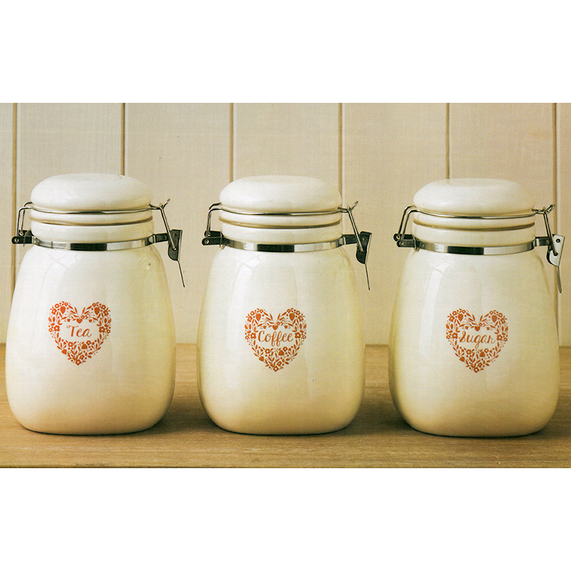 Vintage Retro Cream Tea Coffee Sugar Clip Lock Ceramic Kitchen Storage Jar Set Ebay