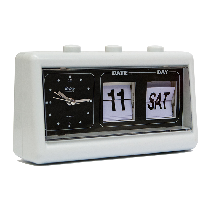 Vintage retro quartz alarm clock flip date day time White flip clock