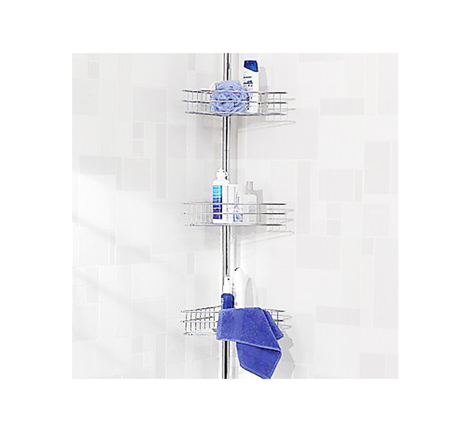 chrome three shelf corner shower caddy extendable pole tension rod bathroom new ebay. Black Bedroom Furniture Sets. Home Design Ideas