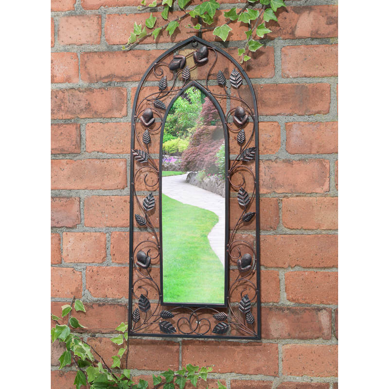 Enchanted rustic metal frame arched garden mirror outdoor for Window arch wall decor