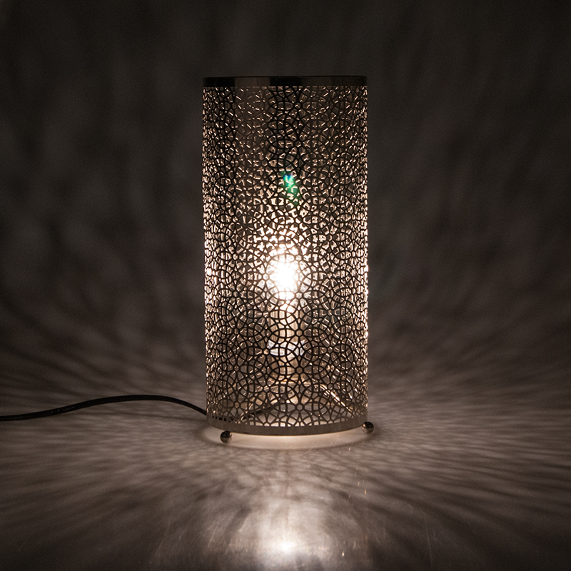 Moroccan Patterned Cut Out Filigree Metal Cylinder Table Lamp Silver/White
