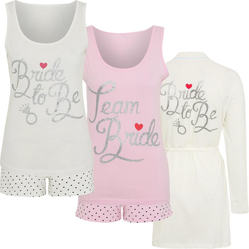 Ladies Wedding Engagement Hen Pj Pyjama Nightwear Set