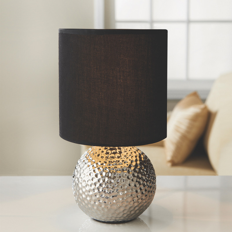 Memphis Dimpled Ceramic Bedside Table Lamp Chrome Bronze
