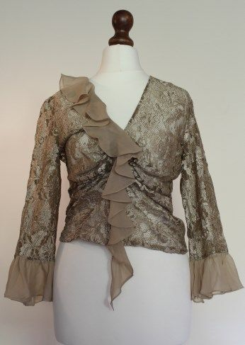 BNWT-Sexy-Karen-Millen-Sz-10-Gold-Coffee-Lace-Blouse-Top